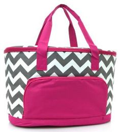 Chevron Stripe Large Canvas Insulated Cooler Bag (PINK) - Handbags, Bling & More!
