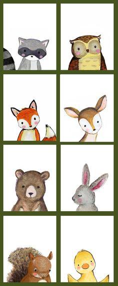 Woodland Animal Nursery Decor Fox Deer Raccoon Owl Bunny
