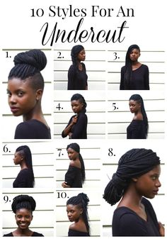 10 Hair Styles for an Undercut Undercut styles, box braid styles, natural hair from AuthenticallyB. Shaved Side Hairstyles, Undercut Hairstyles, Box Braids Hairstyles, Cool Hairstyles, Wedding Hairstyles, Updo Hairstyle, Wedding Updo, Black Hairstyles, Celebrity Hairstyles