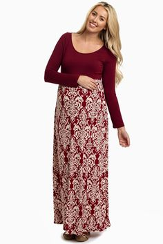 Burgundy-Damask-Colorblock-Long-Sleeve-Maternity-Maxi-Dress