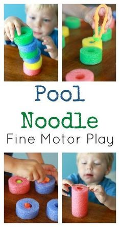 Kids can work on fine motor skills, practice their engineering, and pretend to be chefs. See how with these pool noodle fine motor activities. Toddler Fine Motor Activities, Motor Skills Activities, Gross Motor Skills, Toddler Learning, Sensory Activities, Infant Activities, Toddler Preschool, Preschool Activities, Sensory Rooms