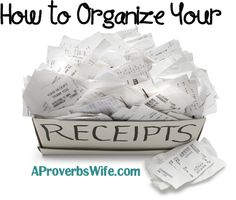 How to Organize Your Receipts - Put all that month's receipts in a labelled envelope, then file.