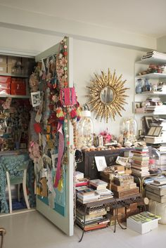 """Silver-Foxy Linda Rodin's NYC Apartment #refinery29  http://www.refinery29.com/linda-rodin-my-style#slide-14  """"Looking into my closet surrounded by things that make me smile.""""..."""