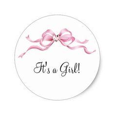 Elegant Pink Bow Baby Shower Classic Round Sticker