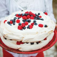 Fresh Berry Pavlova So easy not a cake but I will serve it like it is:}