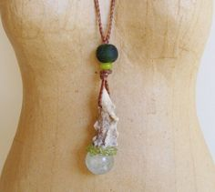 HIGHER SELF mini crystal wand Pendant Necklace with Deer antler, Inclusion Quartz, Peridot
