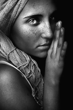 even i black and white this is just stunning. Her eyes are so piercing and it even reminds me of The Young Afghan Girl by Steve McCurry