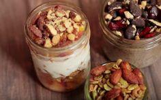 Parfait Recipes // Peachy Yogurt Parfait, Savory & Spicy Trail Mix and Chocolate Cherry Chia Pudding