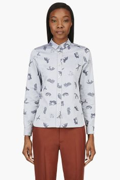 MAISON KITSUNE Blue Fox Print Shirt $350 @SSENSE.com