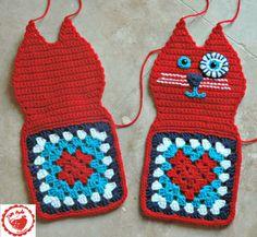 Jam made granny heart cat Crochet Cat Pattern, Granny Square Crochet Pattern, Free Pattern, Crochet Patterns, Loom Patterns, Crochet Home, Cute Crochet, Crochet Dolls, Knit Crochet