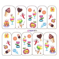 $2.86 Nail Art Water Decals Transfers Colorful Yummy Icecream Cake Pattern #BOP/071 - BornPrettyStore.com