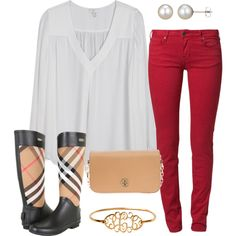 fall time - Really like the red jeans and the boots.