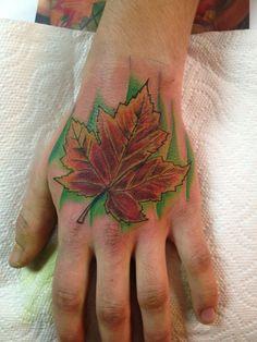 Hand tattoo Leaf Tattoos, Hand Tattoos