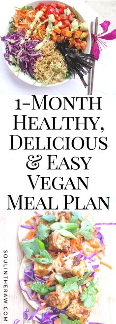 This delicious, 1-month vegan meal plan will provide you with a meal prep for the week guide every week for 4 weeks, delicious and easy vegan recipes, and even a weekly vegan grocery list. These are my favorite whole food plant-based recipes all packed together in one delicious vegan meal plan that I know you will love!