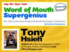 Delivering Happiness: A Path to Profits, Passion, and Purpose -- live with author and Zappos CEO, Tony Hsieh by SocialMedia.org. In this live preview for Word of Mouth Supergenius in New York on July 20th, Zappos CEO Tony Hsieh and WOM guru Andy Sernovitz talk love and happiness.