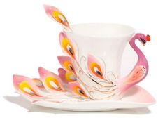 HindaWi Hand Crafted Porcelain Enamel Graceful Peacock Tea Coffee Cup Set with Saucer and Spoon, Pink