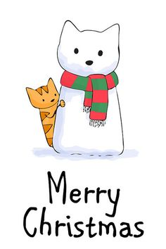 merry christmas Merry Christmas Snow Cat ~ Doodlecats by Beth Wilson Christmas Animals, Christmas Cats, Christmas Pictures, Christmas Time, Vintage Christmas, Christmas Cookies, Christmas Clipart, Christmas Rock, Merry Christmas And Happy New Year