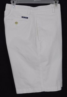 Chaps Shorts. Bottoms Size Mens 34. White - Solid. Regular size type. Flat Front style. 100 percent Cotton. Heavy duty fly front zipper with 1 button and buttonhole closure. Front rise approx. | eBay!