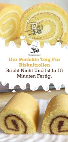 The perfect dough for biscuit rolls - does not break and is .- Der perfekte Teig für Biskuitrollen – bricht nicht und ist in 15 Minuten fertig The perfect dough for biscuit rolls – doesn& break and is ready in 15 minutes. Easy Smoothie Recipes, Fall Desserts, Ice Cream Recipes, Cookie Recipes, Snacks Recipes, Bakery, Food And Drink, Sweets, Cake Rolls