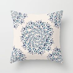 Indigo Leaves Mandala Throw Pillow