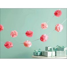 Vintage Girl Pink Pom-Pom Garland | 2pc for $13.50 in Banners & Garlands - Decorations
