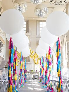 Giant Wedding Balloons with Tassel Tails by Bubblegum Balloons - Aisle amazingness xxx