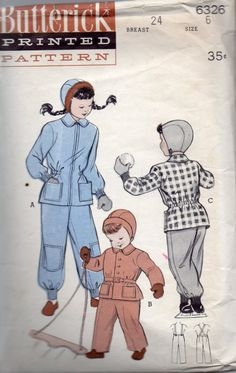 Butterick 6326 1950s Childs Snowsuit and Helmet by mbchills