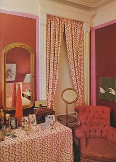 """The early Manhattan apartment of Mark and Duane Hampton. Their bedroom was decorated in shades of magenta and pink with some red thrown in for good measure"", Peak of Chic Small Apartment Design, Small Apartments, Red Interiors, Beautiful Interiors, David Hicks, Manhattan Apartment, Bedroom Red, Master Bedroom, First Apartment"