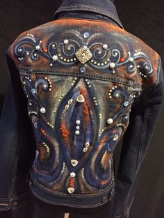 Custom order hand painted denim jacket.