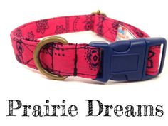 Hot Pink Navy Blue Bandana Cowgirl Dog Collar by veryvintage