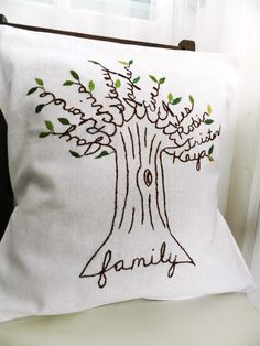 Personalized Family Tree Pillow Cover. Personalized Christmas. Shades of Green. Parent's Anniversary. Mom Birthday. Wedding. by BlueLeafBoutique on Etsy https://www.etsy.com/listing/93292304/personalized-family-tree-pillow-cover