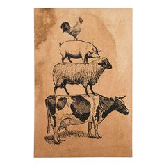 New Primitive Country Farm Animal Stack Cow Pig Sheep Rooster Picture Wall Plaqu #ReadyToHang