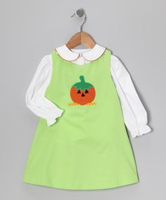 Take a look at this White Blouse & Lime Pumpkin Jumper - Infant, Toddler & Girls on zulily today!