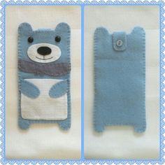 #casedecelular #ursinho #urso azul #feltro