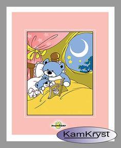 Kids blanket in the crib pink Teddy Bear | Kocyk dla dzieci Miś w łóżeczku różowy