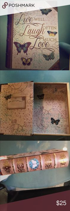"""""""Live well, Laugh often, Love much """"keepsake book Super adorable """" book """"where you can keep your treasures/memories in. It is about 1.5 inches deep and measures about 8.5×6 inches. In excellent condition. Other"""