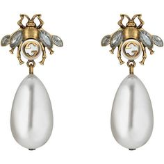 Gucci Bee Earrings With Drop Pearls (£320) ❤ liked on Polyvore featuring jewelry, earrings, accessories, gold, pearl drop earrings, pearl jewellery, vintage jewellery, gucci earrings and honey bee earrings