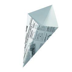 Cono de cartón apto para todo tipo de fritos con un original diseño de periódico. Entra en la web y descubre todos nuestros envases para fritos.