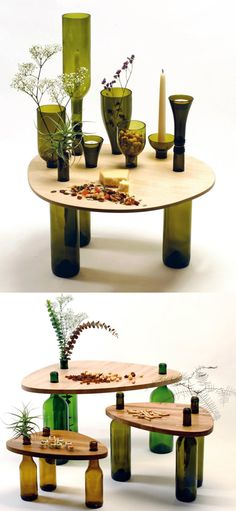 Dvinus table collection - made with scraps of wood reuse and recycling wine bottles.