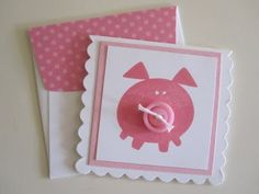 My pig obsessed sister would love these cute little note cards - made with Button Buddies stamp set Mom Cards, Kids Cards, Baby Cards, This Little Piggy, Little Pigs, National Pig Day, Farm Crafts, Cricut Cards, Get Well Cards