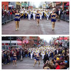 The WVU Marching Band on Beale Street in the AutoZone Liberty Bowl Parade. Instagram photo by wvuband