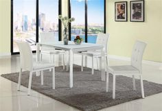 Roberta White Glass PU Extension Leaf Dining Room Set