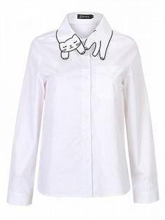 Shop White Cat Pattern Collar Pocket Detail Long Sleeve Shirt from choies.com .Free shipping Worldwide.$17.9