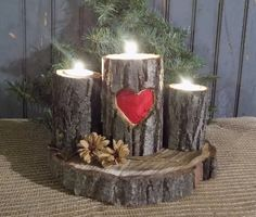Raw Natural Maple candle Holder set.   Hand carved and painted red heart, with bottom round log slice.    Center candle heart hand carved and                                                                                                                                                                                 More