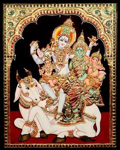 Tanjore Painting - Shiva Parvathy Family