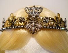 Queen Bee Crown Gold Honey Bee Tiara Filigree for a Princess French Fleur de Lis Bumble Bee Game of Thrones Burning Man Regin Royal (90.00 USD) by MyFairyJewelry