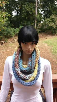 Shop for on Etsy, the place to express your creativity through the buying and selling of handmade and vintage goods. Crochet Scarves, Crochet Hooks, Crochet Infinity Scarf Pattern, Stitch Patterns, Crochet Patterns, Chunky Infinity Scarves, Crochet For Beginners, Crochet Gifts, Plus Size Outfits