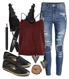 """""""Edgy Hanna Marin inspired outfit with flat shoes"""" by liarsstyle ❤ liked on Polyvore featuring Mad Love, H&M, Topshop, River Island, Boohoo, Chantecaille, Rimmel, INIKA, shopping and weekend"""