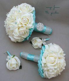 Ramo novia azul hermoso