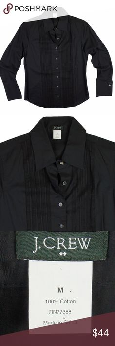 """New JCREW Black Semi Sheer Button Down Shirt NWOT. This new black semi sheer shirt from JCREe features button closures, black grosgrain stripes down front placket and is semi sheer. Made of 100% cotton. Measures: bust: 39"""", total length: 25"""", sleeves: 24"""" J. Crew Tops Button Down Shirts"""